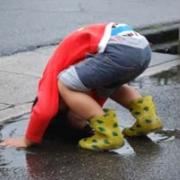 「水たまりに頭をダ~~~~イブ!!!!」【かわいいフォトブックKpi Pink】ついついニヤけてしまう写真大募集!☆の投稿画像