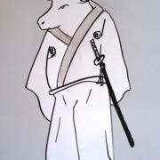 「黒牛サムライ」飛騨牛販売専門店 黒牛亭 マスコットキャラクター イラスト募集の投稿画像