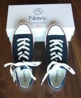 街歩きにちょうどいい(^∇^) Navy(ネイビー)新感覚キャンバススニーカーの画像(1枚目)