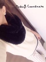 Pierrotフェイクファースヌード☆ホワイトコーデ☆気になるストライプ☆