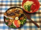とんかつ&蟹寿司風まん丸卵焼き弁当♪(旦那)の画像(1枚目)