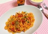 海老とツナのトマトパスタ
