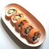 「   【 こどもごはん 】こどももお気に入り♫カラフルな巻き寿司 」の画像(1枚目)