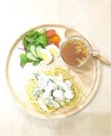 口コミ記事「ワンプレートごはん鳥もも肉とリーキのクリームパスタといろいろ使えるざく混ぜ野菜サラダのたれ!」の画像