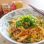 ・今日のランチはキムチ焼うどん♡・九州 熊本の老舗味噌  醤油醸造元 ホシサンのキムチ鍋の素を使って作りました✨・野菜と豚肉、うどんを炒めてキムチ鍋の素で味をつけるだけで簡単にでき…のInstagram画像