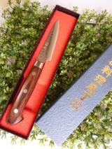 「美しいダマスカス模様と抜群の切れ味!!堺の刃物屋さんこかじのパーリングナイフ。」の画像(1枚目)