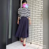 UNIQLOボーダートップス×リネンロングスカートに赤のラバーパンプスをさし色に☆の画像(1枚目)