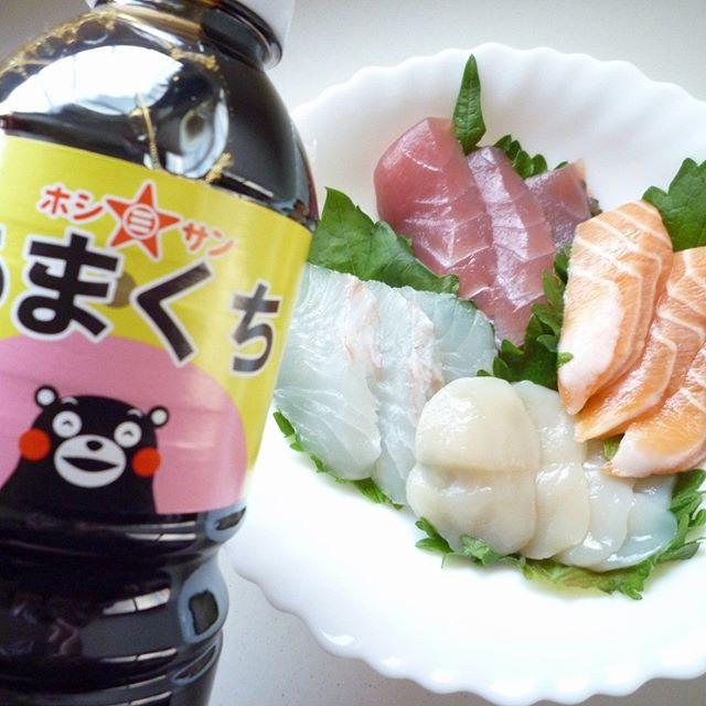 口コミ投稿:くまモンがかわいい「ホシサンあまくち醤油」九州のあまくちしょうゆです♡お刺身には…