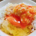 #お昼ごはん あー、美味しい❤️ かき醤油が生卵に合うー❣️ ごちそうさまです😊#アサムラサキ #かき醤油 #たまごかけご飯 #TKG #monipla #アサムラサキファンサイト参加中のInstagram画像