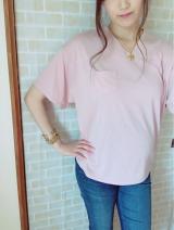 「夢展望 胸ポケットゆるてろVネックTシャツ」の画像(4枚目)