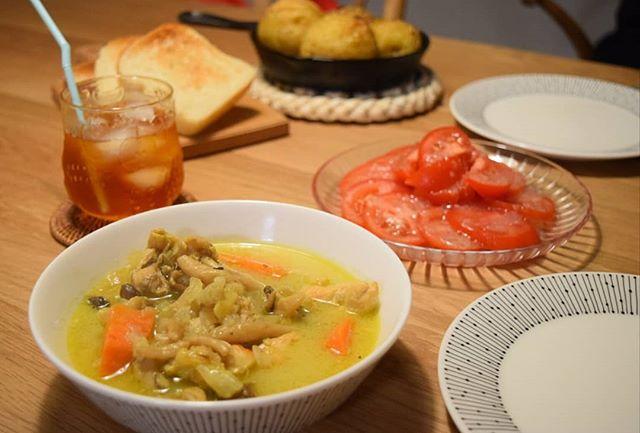 口コミ投稿:ばんごはん.名古屋コーチンのターメリックスープ冷しトマトハッセルバックポテトトー…