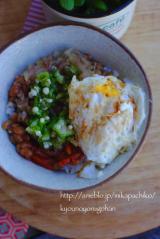 *鶏むね肉の丸め焼き弁当とスタミナ丼の朝ごはん*の画像(1枚目)