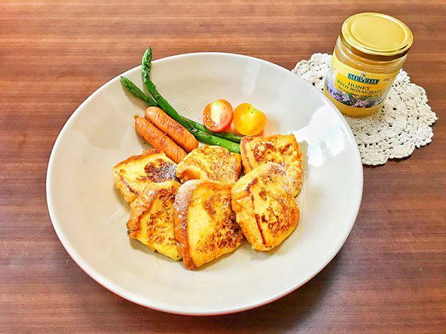 口コミ投稿:朝ごはん。.*フレンチトーストプレート(ウインナー、アスパラ、ミニトマト).久…