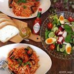 ・・I made tomato sauce pasta with vegetable juice and tomato juice・・こんばんは・・久しぶりにパスタ🍝食…のInstagram画像