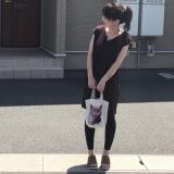 GUの590円ワンピに一目惚れ❤️GU×UNIQLO×しまむら×イーザッカマニアの猫ちゃん柄トートの画像(1枚目)