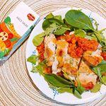 🍆🍅🌽**とある日のボリュームたっぷりランチ🍗野菜もジュースでしっかりと。**#ハコサラダ #HACOSALAD #デルモンテ #monipla #delmonte365_…のInstagram画像