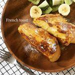 French toast🥖卵液に一夜漬けしたのでふわっふわのプルンプルン。柔らかくて甘〜い、しあわせすぎる。お砂糖の代わりに蜂蜜たっぷりで🍯のInstagram画像