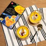 簡単に作れるマンゴープリン(о´∀`о)生クリーム、ナッツ、ドライマンゴーも添えました!パパもかなでんも美味しいって気に入ってた♡*これにはマンゴープリンのパウダーとマンゴーソースのみ…のInstagram画像