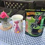 庭のウッドデッキにて☀️お仕事前のティータイムです🐱🍀「濃いグリーンティー」を、温めた豆乳に溶かして飲んでみました。抹茶ティーラテみたいな味になって美味しかった💖#庭 #ティータイム …のInstagram画像