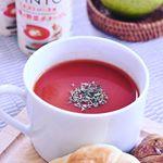 朝食に大助かりなパンとおいしい「PANTO」1本でトマト2個分ミネストローネ風11種の野菜ポタージュレンジで温めもOKなのでこれからの季節も大活躍です。たっぷりとお野菜の栄養がとれ…のInstagram画像