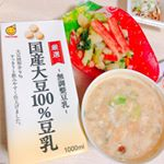 marusanの国産大豆100%豆乳を使用して裏面にレシピが書いてあったのでお味噌汁を作りました!😊煮立ってしまい、分離してる、、、笑でもとてもおいしいお味噌汁ができました〜💕お味噌汁…のInstagram画像