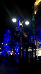 ブルーイルミネーションの街の画像(1枚目)