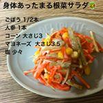 今日は簡単サラダで作り置きしました🥗最近冷え込みがすごくて手足が冷えるので身体を温めてくれる根菜サラダにしました🥕子どもも食べやすいようにごぼうと人参はレンジで4分ほど温めて柔らかくし…のInstagram画像