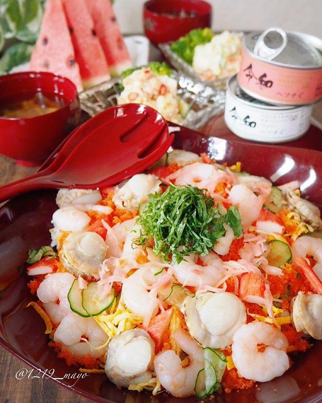 口コミ投稿:・・Chirashi sushi for children to eat・・こんばんは・・久しぶりにチラシ寿司作…