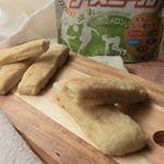 背が小さい我が家の子供達👧🧒..そこで、子供の成長にぴったりなアスミール✨.今回はアスミールのメロメロン味で簡単スティックパンを作りました🥖🥖.〈材料 16本分(4~5人分…のInstagram画像