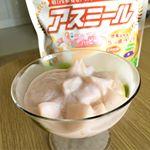 ハッピーチアイスヨーグルト150gアスミール スプーン2杯缶詰の桃 1個1.ヨーグルトを水切りします。2.ヨーグルトとアスミールをよく混ぜます。3.一口サイズに切った桃…のInstagram画像