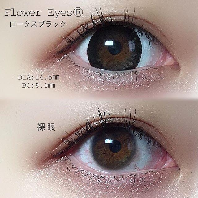 口コミ投稿:✼カラコンレビュー👁💛今回使用したのはFlower Eyes Ⓡ ロータスブラック👾DIAは1…