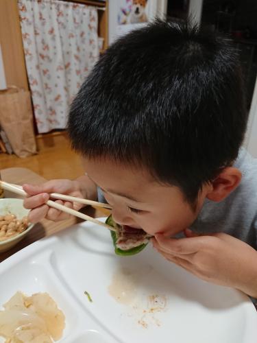 なんでも大きい口を開けて食べる食いしん坊息子たち。