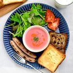 2019.09.16*今日の朝ごはん。*・ビーツのポタージュ・デニッシュパン・ウインナー・ベビーリーフサラダ**ビーツでポタージュ作ったよ。ピンク色でかわい…のInstagram画像