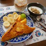 #モニプラ #ごと㈱ の #ごといもポタージュのモニター のお題は、朝食。パンにスープを含ませて、#フレンチトースト のように。間に挟んだチーズもイイシゴトしてくれました😀👍 (材料)(2…のInstagram画像