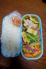 ある日のお弁当(豚肉とネギの炒め物)の画像(1枚目)
