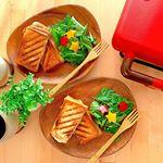 *.生食パンを使ってホットサンド 🍞.めちゃくちゃ美味しかった⸜(´ ˘ `∗)⸝旦那も食べる前からホットサンド美味しそう〜!って言ってて満足そうだった👏🏻...…のInstagram画像