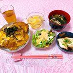 ♡ 今日の夜ごはん ♡ ㅤㅤㅤㅤㅤㅤㅤㅤㅤㅤㅤㅤㅤㅤㅤㅤㅤㅤㅤ❁カツ丼❁サラダ❁すまし汁❁お豆腐のピリ辛蒸し❁パインゼリーㅤㅤㅤㅤㅤㅤㅤㅤㅤㅤㅤㅤㅤㅤㅤㅤㅤㅤㅤㅤㅤ…のInstagram画像