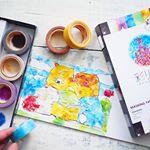 【PR】#リンレイ さまより、#彩り水彩#マスキングテープ をお試しさせて頂きました🖼・#水彩 風8色のマステのセットで、赤や黄色でも#水彩画 のグラデーションのような濃淡があるから、ちぎ…のInstagram画像