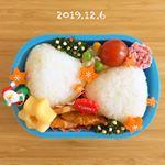 ・2019.12.6.Fri・今日は半日保育でしたがおうち弁当を作りました🍙・⋆塩むすび⋆鶏肉ケチャップ炒め⋆ポテトサラダ⋆蒸し卵⋆お花ハム・塩むすびに…のInstagram画像