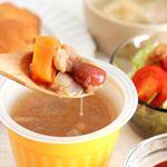 レンジカップスープで、朝ごはん!かわいい容器に入った、3種のスープ。モンマルシェ様よりいただきました。7種の野菜ミネストローネつぶつぶコーンのポタージュ 5種野菜のポトフ風…のInstagram画像