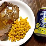 #わたしの檸檬堂開店中 @lemondo_jp 旦那の夕飯とこだわりのレモンサワー^_^超久しぶりの牛肉!!!にテンション上がる!2枚で999円の広告の品。たまのご褒美。#GO…のInstagram画像