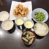 今日のご飯とダイソーで購入したV字ハンガーキャッチの画像(1枚目)
