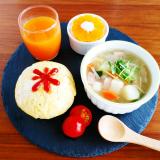「おうち朝ごはん オムライス&あんバタートースト」の画像(1枚目)