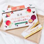 .琉球 パッションフルーツとコンブチャゼリーを食べてみました💗.琉球 パッションフルーツとコンブチャゼリーはコンブチャ(紅茶キノコ)を手軽においしく摂ることのできるゼリー✨難消化デキス…のInstagram画像