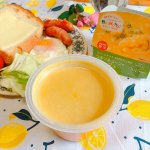 今日のスープは…モンマルシェ 野菜を食べるレンジカップスープ【野菜をMotto!!】シリーズの《「スイートキッス」の甘みたっぷり つぶつぶコーンのポタージュ》*甘〜いコーンがたっぷり入ったポタ…のInstagram画像