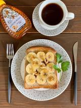 口コミ記事「朝ごはんにはちみつバナナトースト」の画像