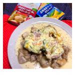 ・・お家ごはん🍽/Home cooking records・♪もも肉のマッシュのせチーズソース😆✨・清水食品『SSK 北海道産じゃがいもの冷たいスープ』を使って🍽アレンジ料理✨…のInstagram画像