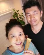 毛穴洗顔パックの「OK GOLDEN PACK 」を主人と使ってみたよ!!⠀⠀⠀主人には、私が塗りました✨⠀⠀⠀2人でゴールドになったよ💓⠀⠀直塗り出来るので、手が汚…のInstagram画像