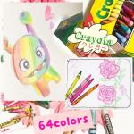 crayola 64colorsクレヨンのパッケージのカラフルなキャラクターが可愛かったので描きました。💕薔薇も色んなレッドを混ぜてアーティスト風に🖼笑たくさんの色があるからただ塗…のInstagram画像
