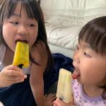あつい日が続きますね😳姉妹でアイスを作ったよ❤️・ほんとはイチゴを入れたかったけど夏なので入手できず😇・子供達はとっても喜びました🤤❤️今度は何層かにしてカラフルなアイスにも挑戦し…のInstagram画像